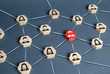 Hexagons with businessmen employees are connected with their leader by a business network. Communication and social networks. Cooperation and collaboration. Project and leadership personnel management