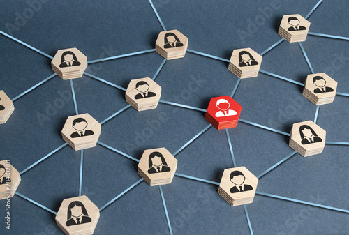 Fototapety, obrazy: Hexagons with businessmen employees are connected with their leader by a business network. Communication and social networks. Cooperation and collaboration. Project and leadership personnel management