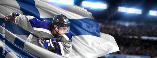 Finland Hockey Player in action around national flags Wallpaper Mural