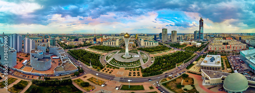 NUR-SULTAN, KAZAKHSTAN (QAZAQSTAN) - August 11, 2019: Beautiful panoramic aerial Wallpaper Mural