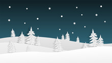 Winter Landscape View In The Night With Snowflakes Background In Paper Cut Style. Vector Illustration With Snow Field And Pine Tree. Design For Poster, Wallpaper, Backdrop, Banner, Template, Cover.