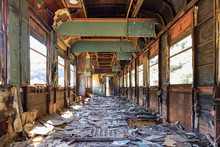 An Abandoned Railroad Car Sits Deteriorating And Rusting
