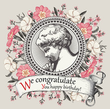 Angel Boy Baby Child Birthday. Frame Baroque Drawing Engraving Vintage Background Realistic Flowers. Wildflowers Victorian. Primrose Agrostemma Croton Isolated. Greeting Card. Vector Illustration.