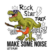 T-rex Rock Star Print Design