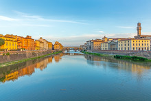 Historic Ponte Veccio In Florence At River Arno