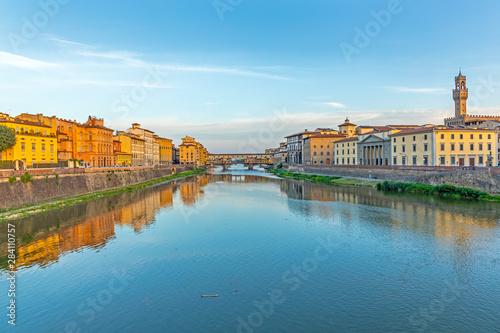 historic Ponte Veccio in Florence at river Arno Canvas Print