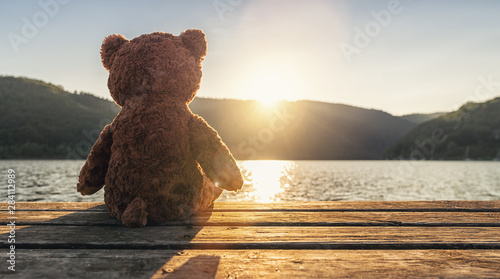 teddy bear sitting on a jetty at a lake on sunset, rear view. Love theme. Concept about love and relationship. copyspace for your individual text.