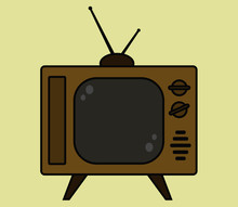 Old Brown Retro Tv Set On A Beige Background. Vector Illustration.