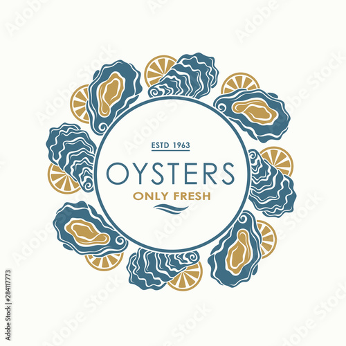 label of fresh oyster shell and lemon isolated on light background Wallpaper Mural