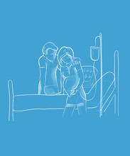 Digital Illustration Of A Couple Standing Together During Labor