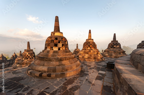 Morning light over Candi Borobudur temple in Yogjakarta, Indonesia.