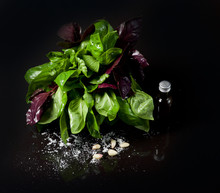 Purple And Green Basil With Ol...