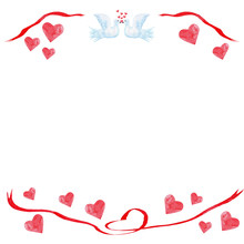 Watercolor Heart Red Valentine...