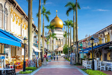 Street View Of Singapore With Masjid Sultan
