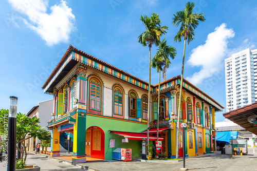 Colorful facade of building in Little India, Singapore. Canvas Print