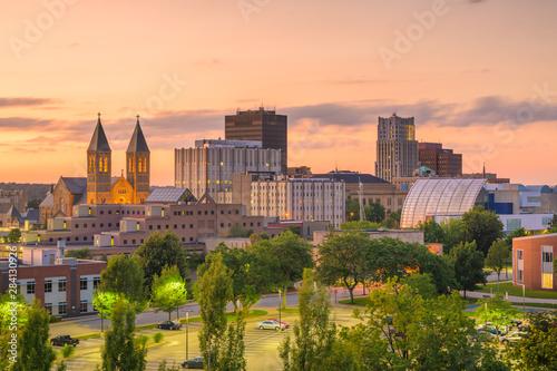 Türaufkleber Beige Akron, Ohio, USA Town Skyline