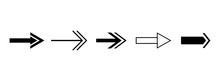 Black Arrows. Vector Set Of Isolated Right Arrow Icons. Direction Pointers