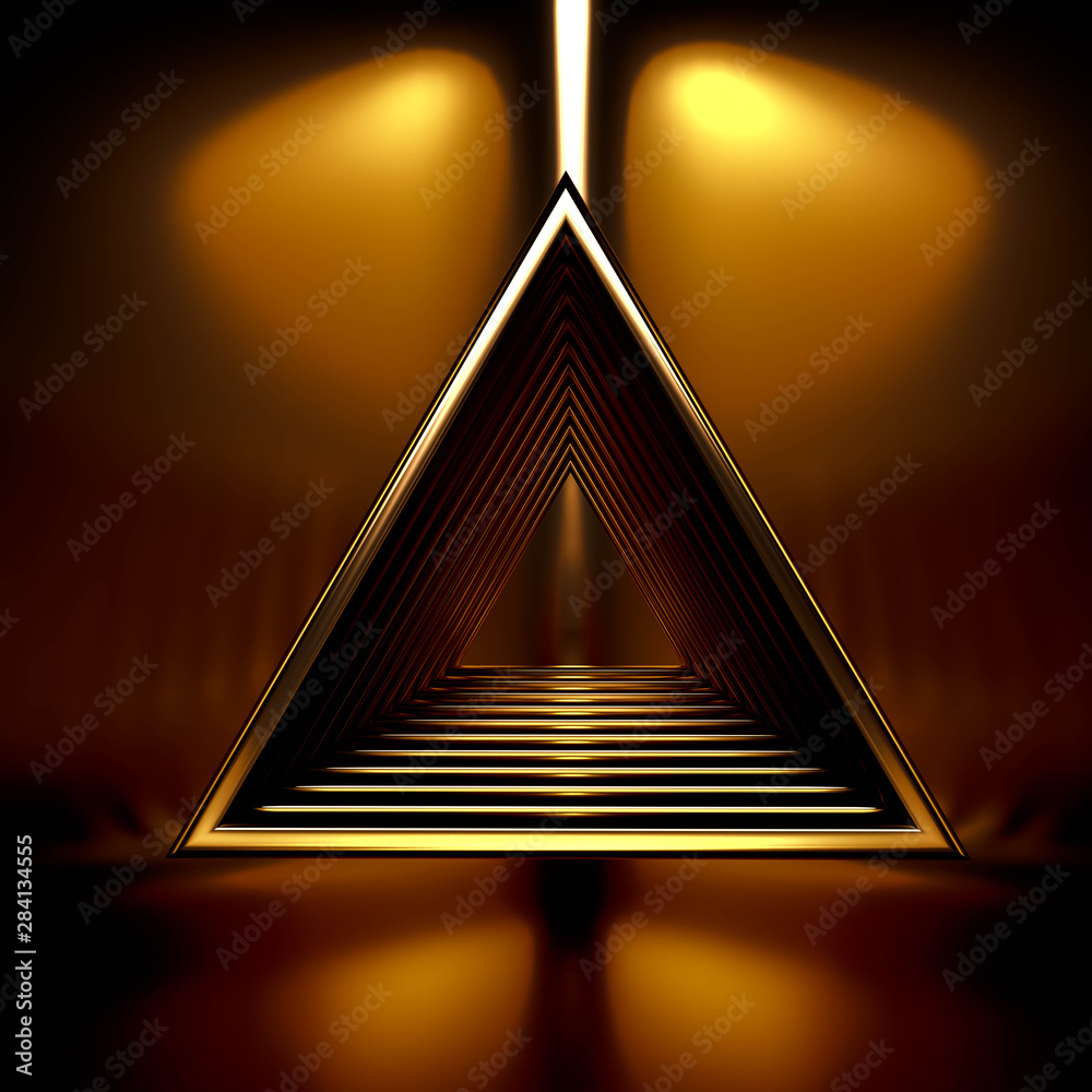 Fototapeta Beautiful, elegant background with a pedestal and a showcase. 3d illustration, 3d ..rendering.