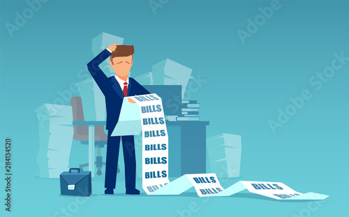 Fototapeta Vector of a sad business man holding a long list of financial bills obraz
