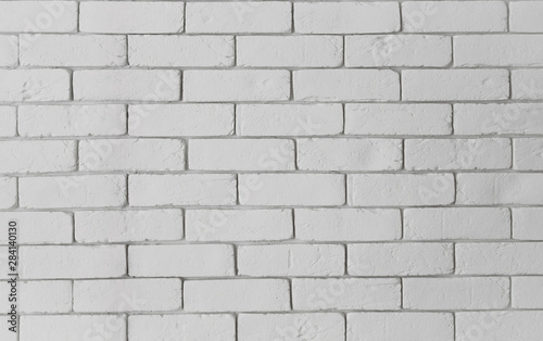 Photo sur Toile Cailloux Modern white brick wall texture as a background. Abstract backdrop