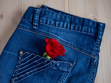Beautiful Red Rose In Jeans Po...