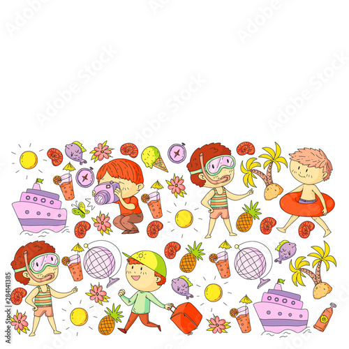 Deurstickers Magische wereld Set of summer icons with children. Kids swim with swimming mask and flippers, inflatable ring, sunbathe on the beach, take photos.