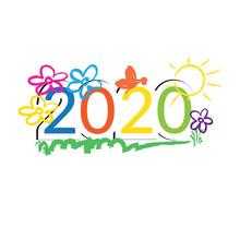 Happy New Year 2020. Vector Il...