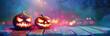 Leinwandbild Motiv Jack O' Lanterns Glowing In Fantasy Night. Halloween Background