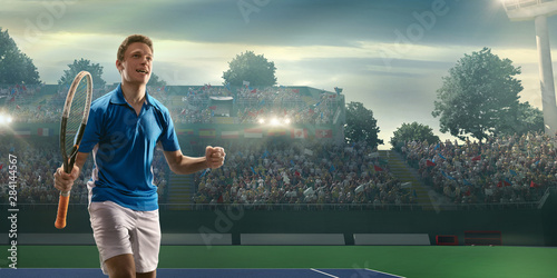 Male tennis player rejoices in victory on a professional court Wallpaper Mural