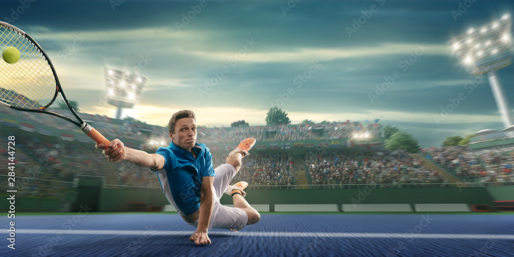 Fototapety, obrazy: Male athlete plays tennis on a professional court