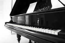Black Grand Piano In Room, Closeup