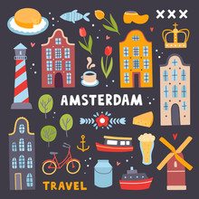 Amsterdam Tourism Illustrations. Vector Symbols Of Amsterdam: Architecture, Bicycle, Windmill, Food. Europe Travel Collection