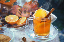 Hot Ginger Tea With Orange Sli...
