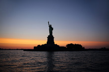 Silhouette Of The Statue Of Liberty, New York, United States