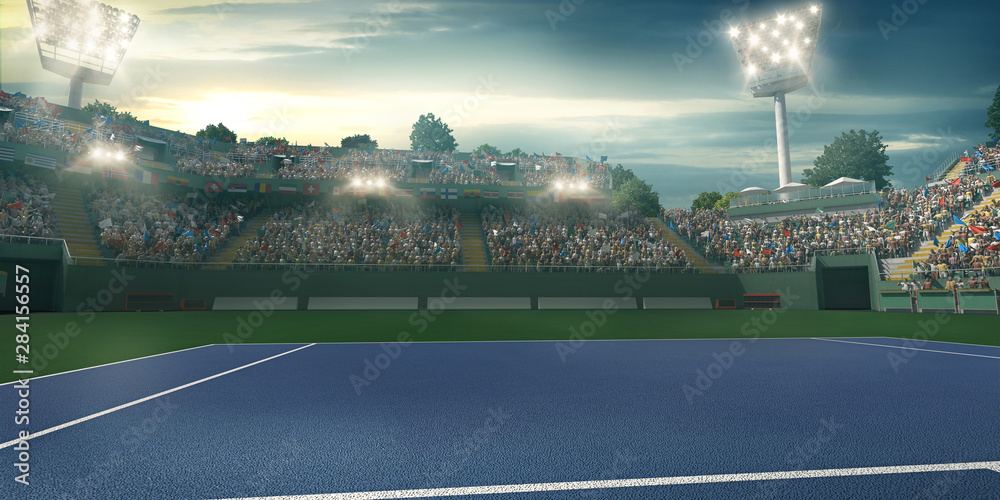 Fototapety, obrazy: Professional Tennis court. Sport background. 3D illustration