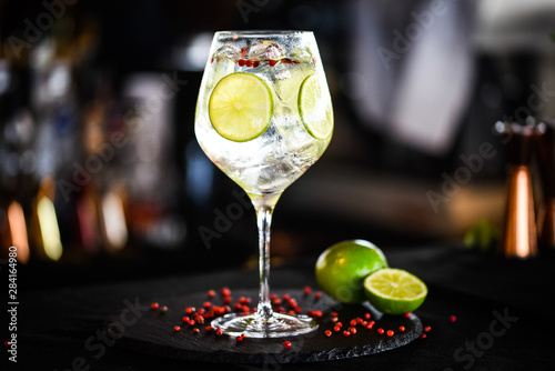 Fototapeta tonic gin with lime & pink pepper obraz