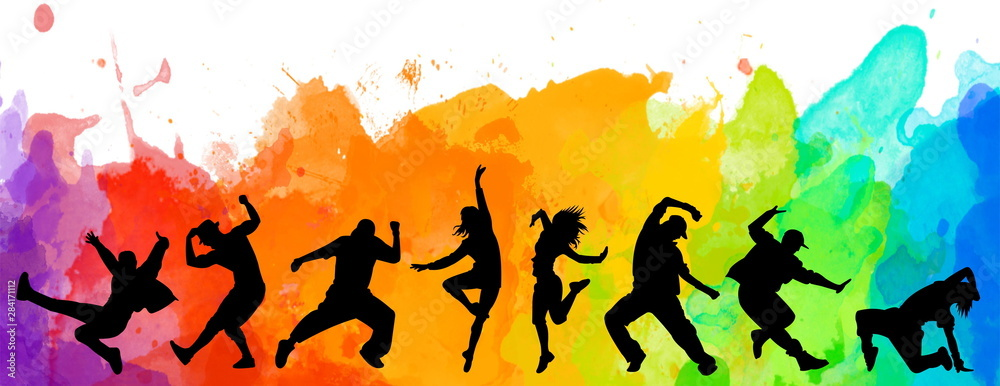 Fototapety, obrazy: Detailed illustration silhouettes of expressive dance colorful group of people dancing. Jazz funk, hip-hop, house dance. Dancer man jumping on white background. Happy celebration