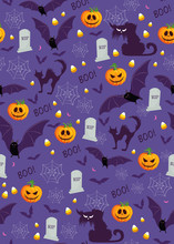 Halloween Pumpkin Seamless Pattern On Purple Background. Cute Halloween Pumpkin And Decoration Pattern Background. Halloween Theme Design Vector Illustration