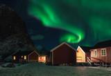 Village in Lofoten Island with Northern Lights