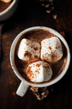 Overhead Close Up Of Hot Chocolate With Marshmallows