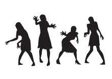 Female Zombie Standing And Reaching Hand In Silhouette Style. Collection Of Full Lenght Of People Resurrected From The Dead.