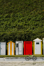 Colorful Changing Cabins On Beach
