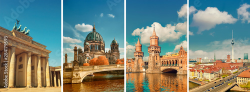 Berlin landmarks, toned collage Wallpaper Mural