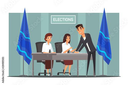 Fototapeta Polling station registration flat illustration