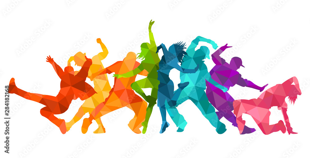Detailed vector illustration silhouettes of expressive dance colorful group of people dancing. Jazz funk, hip-hop, house dance. Dancer man jumping on white background. Happy celebration <span>plik: #284182168 | autor: Razym</span>