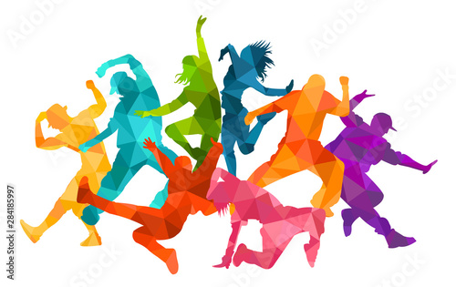 Detailed vector illustration silhouettes of expressive dance colorful group of people dancing. Jazz funk, hip-hop, house dance. Dancer man jumping on white background. Happy celebration - 284185997