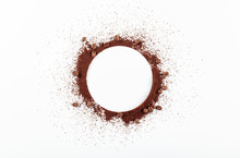Ground Coffee And Beans On White Background.