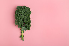 Flat Lay Fresh Green Kale On P...