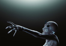 Creature From Another Planet, Weird Creature Or Zombie, 3d Rendering