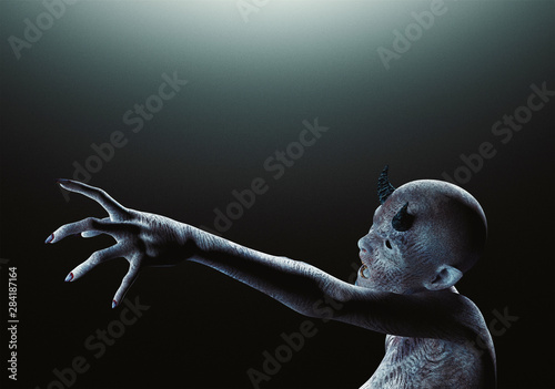 Slika na platnu Creature from another planet, weird creature or zombie, 3d rendering